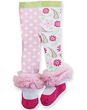 PINK TIGHTS Dots & Flowers 12-18 Months, Footed