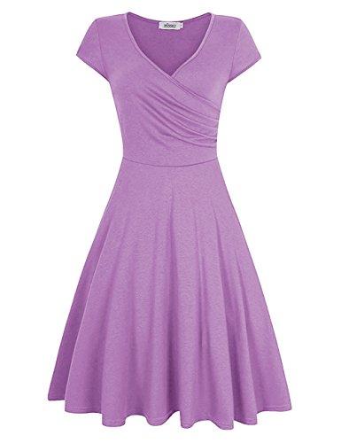 MISSKY Short Sleeve Elegant V Neck Dresses for Women Pullover Knee Length A line Slim Fit Flare Swing Cocktail Dresses for Women (XL, Light -