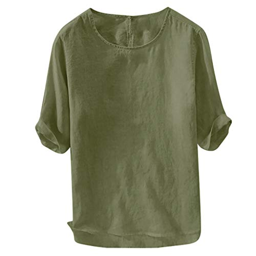 Mens Shirts Casual Soft Loose T-Shirt Loose Crewneck Round Hem Tees Breathable Short Sleeve Tops (M, Green)
