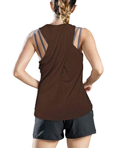 Yaluntalun Yoga Tops for Women Backless Workout Tank Tops Activewear Racerback Tank Top Sleeveless Sports Gym Running Tops Brown