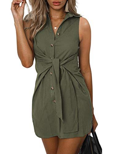 ZESICA Women's Summer Short Sleeve V Neck Button Down Front Tie Casual Short Tunic Dress