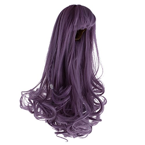 MagiDeal Trendy Full Wig Hairpiece Long Curly Hair with Bang and Braid for 12inch Blythe Doll DIY Making & Repair Accessories Greyish Purple