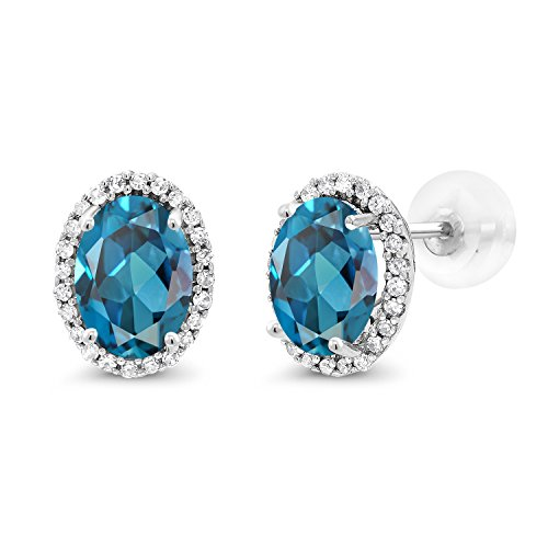 Blue Topaz With Diamond Earring - Gem Stone King 2.14 Ct Oval London Blue Topaz White Diamond 10K White Gold Earrings