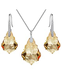EleQueen 925 Sterling Silver CZ Baroque Drop Pendant Necklace Dangle Earrings Set Adorned with Swarovski® Crystals