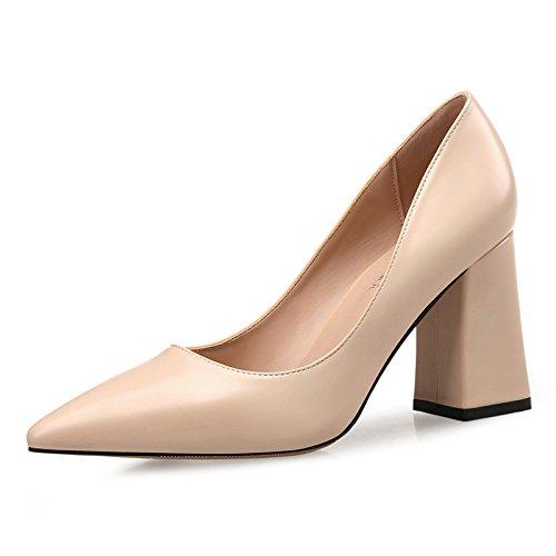 Xue Qiqi high-heel Schuhe Frauen mit fetten schwarzen Spitze und frischen vielseitig, mit einem frischen und Schuh, 40,6 CM - e4b5a8