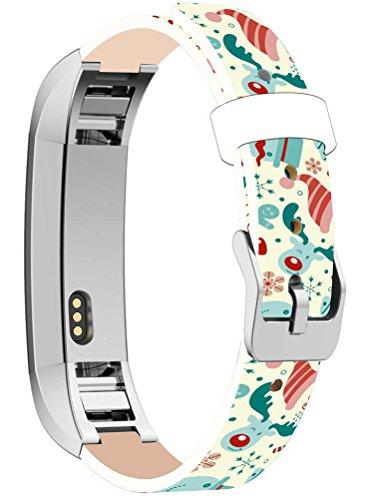 Bands Replacement For Fitbit Alta HR, Cisland Compatible Straps Replacement For Fitbit Alta (HR) Silver Connectors + Christmas Printing Theme Design Xmas Hat (Snowman Band)