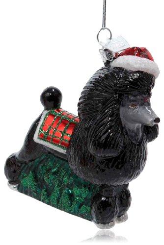 Noble Gems Kurt Adler 3-1/2-Inch Glass Black Poodle Ornament