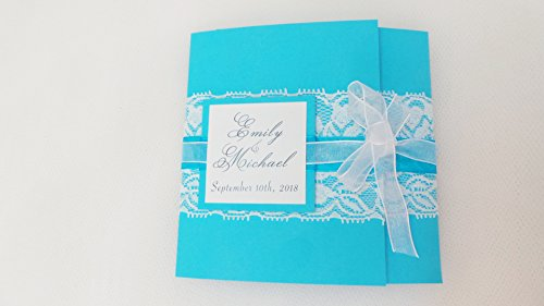 100 Wedding Invitations Beach Ocean Blue Pocket Fold Starfish Belly Band + Envelopes + Response Cards Set -