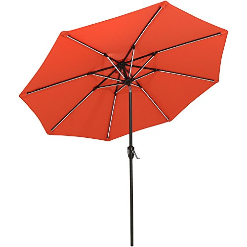 Sunnydaze 9-Foot Spun-Poly Market Umbrella with Tilt and Crank, Solar LED Light Bars, Aluminum, Burnt Orange by Sunnydaze Decor