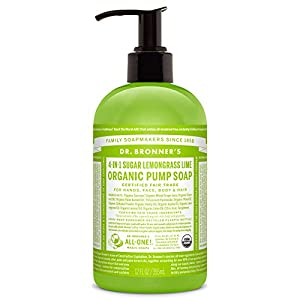 Dr. Bronner's Organic Sugar Soap - 4-in-1 Shikakai Pump Soap - (Lemongrass Lime, 12 oz)