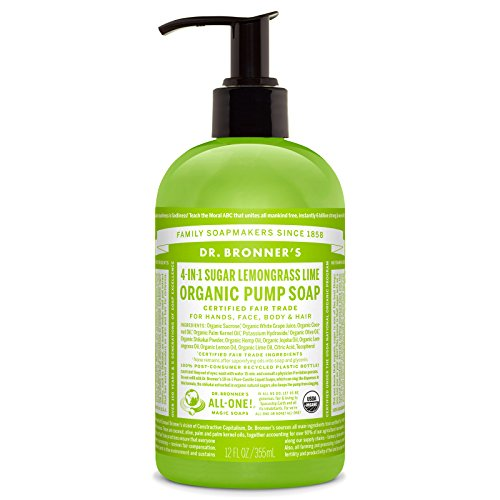 Dr. Bronner's Organic Lemongrass Lime Sugar Soap. 4-in-1 Organic Pump Soap for Home and Body (12 oz) ()