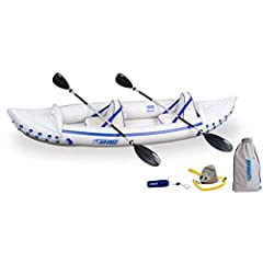 This affordable inflatable Sport Kayak is as lightweight and portable as it gets, yet still remarkably stable and durable. It weighs just 32 lbs. and packs down small enough to fit in the smallest car trunk. Don't let the light weight fool yo...