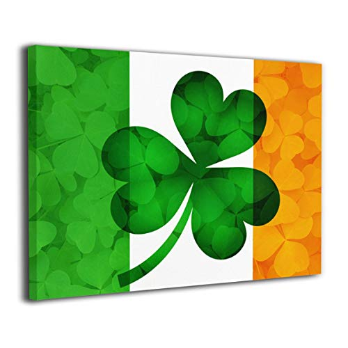 Jemeira Atwood Irish Flag and Shamrock Wall Art Painting Print Artwork for Living Room Bedroom Office Decoration Inside Frame Ready to Hang 20x16inch ()