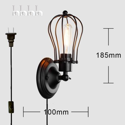 Kiven wall lamp 1-Light Plug-In UL LISTED Industrial Cage Wall Sconce, Matte Black Finish, 6' black Cord, bulb included BD0211