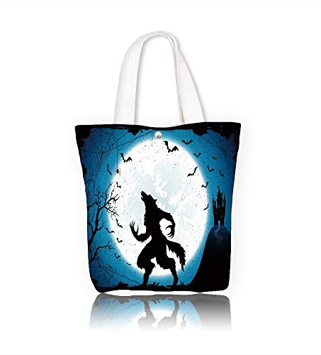Canvas Tote Bag Dark Halloween with Moon on blue sky castle and werewolf spiders and flying bats Zipper Closure Grocery Shopping Bag for Women Girls Students W11xH11xD3 INCH