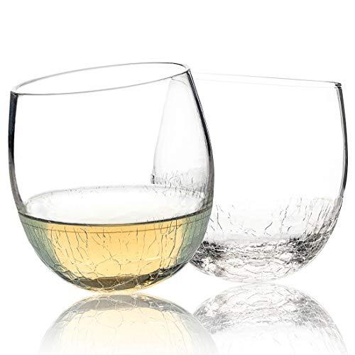 - Hand Blown Crackle Stemless Wine Glasses Set of 2 - 12.8 Ounce Unique Tumbler Glasses