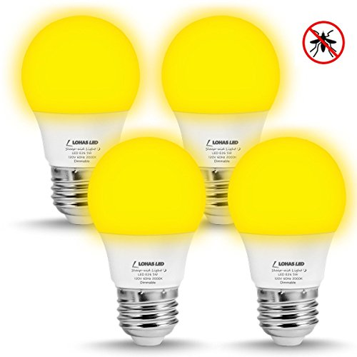 LOHAS A15 LED Bug Lights Yellow, 5 Watt Bulb E26, Dimmable Sleeping Night Light LED for Bedroom, 2000K 40W Equivalent, Decorative Porch Lights (4 Pack)