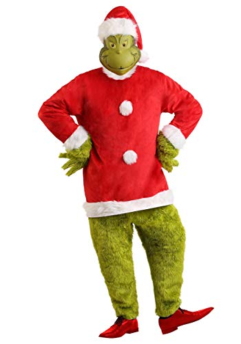 The Grinch Santa Deluxe Mens Jumpsuit with Mask Costume Large/X-Large Red -