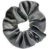 Scrunchie Stash (Silver) - Hidden Pocket Premium Velvet Scrunchy with secret zipper - soft scrunchies and hair tie for women
