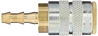 "Dixon Valve 2FB2-B Brass Manual Industrial Interchange Pneumatic Fitting, Socket, 1/4"" Coupler x 1/4"" Push-Loc Hose ID Barbed"