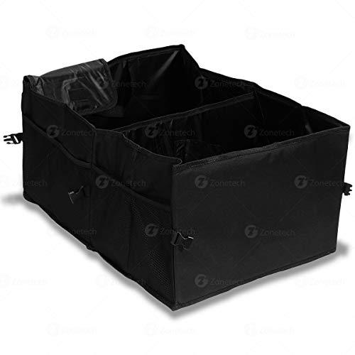Multipurpose Cargo Trunk Storage Bag - Zone Tech Premium Quality Black Universal Foldable Leak Proof Traveling Portable Car Trash Can