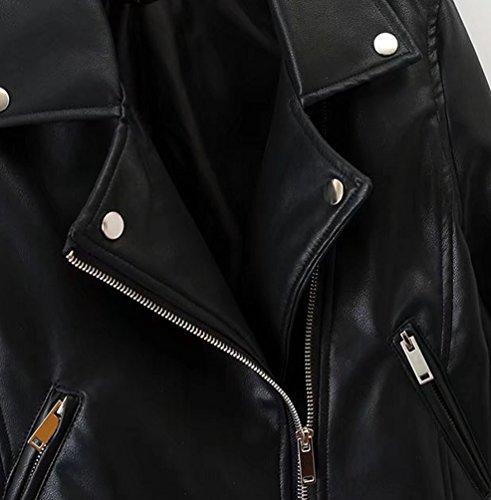 Jitong Chaqueta Negro con Jackets Cazadoras Mujeres de Cremallera Biker Imitacion Abrigos Cuero Moto ff7SwrxBqa