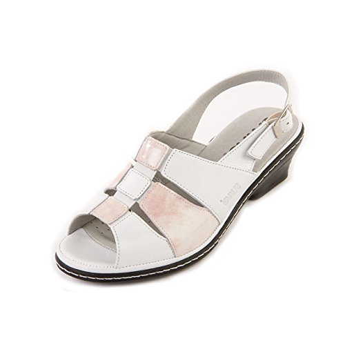 Cushioned Wide Fit Women's Footbed White Suave E 'Ebony' Rose Sandal Gusset Leather Elastic Patent tC8dwqaxX