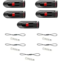 5 X SanDisk 32GB 2.0 Flash Cruzer Glide USB Drive_SDCZ60-032G with Detachable Lanyard (5pcs) and Dust Plug (5pcs)