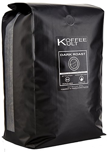 Koffee Kult DARK ROAST COFFEE BEANS (Whole Bean 5 Lbs) - Highest Quality Specialty Grade Whole Bean Coffee - Fresh Gourmet Aromatic Artisan Blend