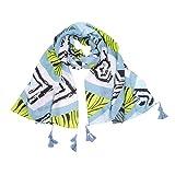 Boomdan Women Sleeve Stripe Print Scarf Shawls Wraps Lightweight Floral Pattern Satin for Headscarf&Neck (Blue)
