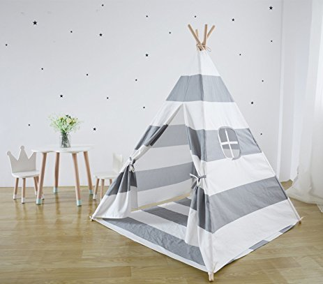 huge selection of 4200d bb7c2 Miyaya 6' Indoor Indian Playhouse Toy Teepee Play Tent for Kids Toddlers  Canvas Teepee with Carry Case with Mat (Grey Stripe)