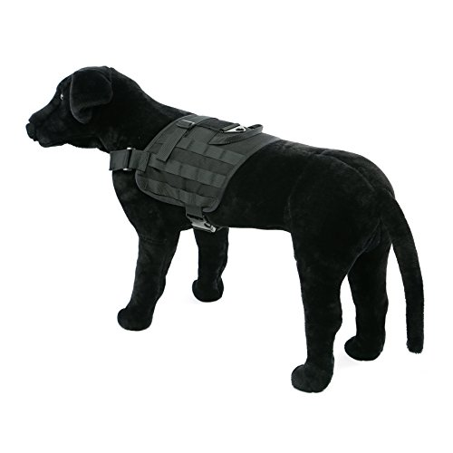 Yisibo Training Dog Vest Army Tactical Molle Harness Dog Vests Outdoor Compact Patrol Nylon Dog Pet Vest Packs Clothes Black L