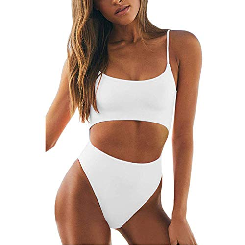 - Zlolia Solid Cut Hollow Out Bikini 1 Piece for Women Camisole Strap Off Shoulder Backless High Rise Jumpsuit Swimsuit White