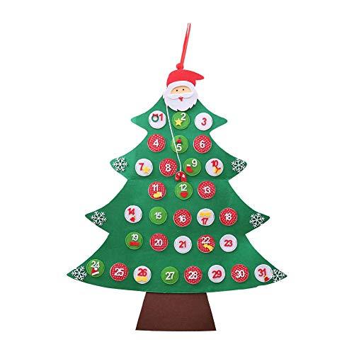 Heitaisi Christmas Calendar Christmas Decorations Christmas Countdown Calendar Non-Woven Calendar Pendant Cartoon Santa Claus Tree Shaped Ornament ()