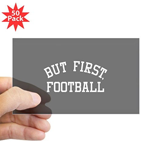 CafePress - But First Football - Sticker (Rectangle 50 pk) by CafePress
