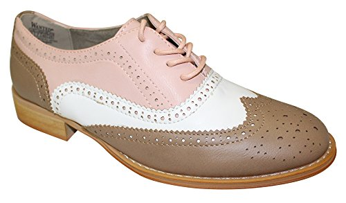 Wanted Shoes Women's Babe Oxford, Taupe/White/Pink, 8 M US Ladies Oxford Shoes
