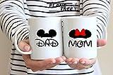 Mickey Mom Minnie Dad Disney Couples Mug - Funny Couple Mug Set -11OZ