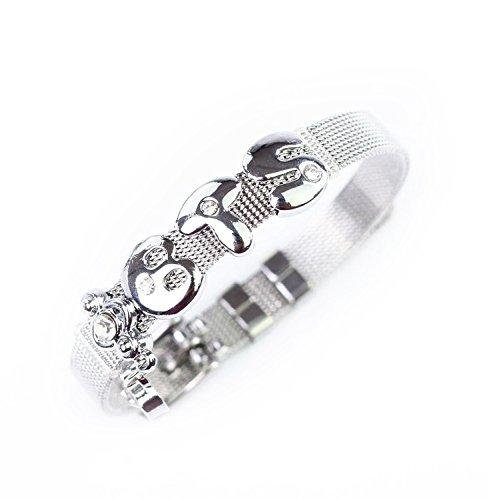 Fanstown Kpop Accessories Handmade Titanium Steel Bracelet Alloy Letter Synthetic Diamond Heart Wristband Bracelet EXO Shinee BTS GOT7 bracelet tit B1A4