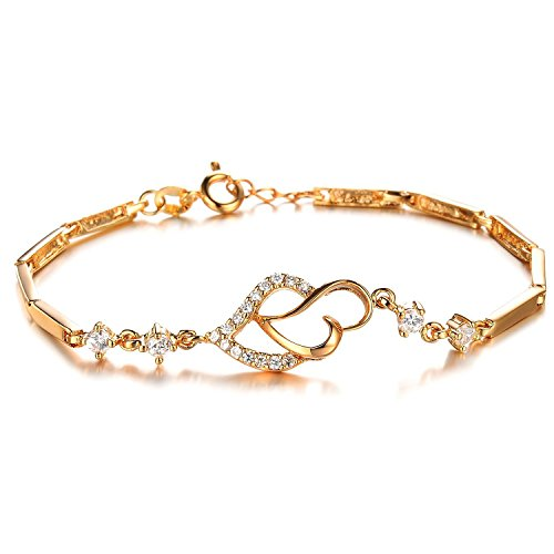 Women Bracelets, Kredy 18K Gold Elegant Double Heart Link Bangles Bracelets for Women Girls (18k Gold Heart Charm)
