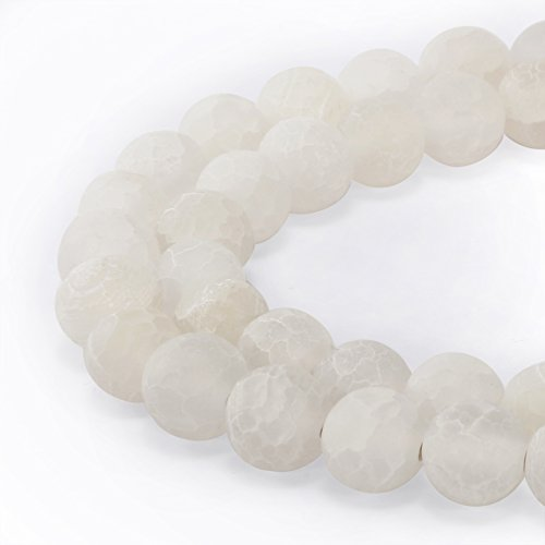 - BRCbeads Gorgeous Natural White Frosted Agate Gemstone Smooth Matte Round Loose Beads 10mm Approxi 15.5 inch 35pcs 1 Strand per Bag for Jewelry Making