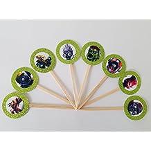 8 PVZ Light Green Glitter Garden Warfare Cupcake Picks Birthday Garden Warfare Plants Zombies Favors