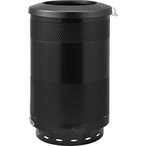 (Global Industrial 55 Gallon Perforated Steel Receptacle with Flat Lid, Black, Lot of)