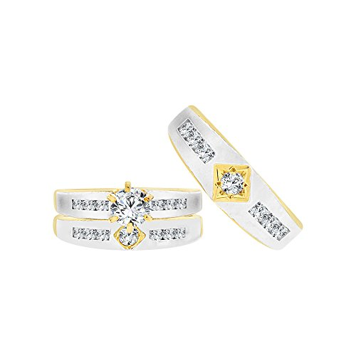 14k Tricolor Gold, Trio 3 Piece Wedding Rings Set Round Created CZ Crystals 1.0ct by GiveMeGold