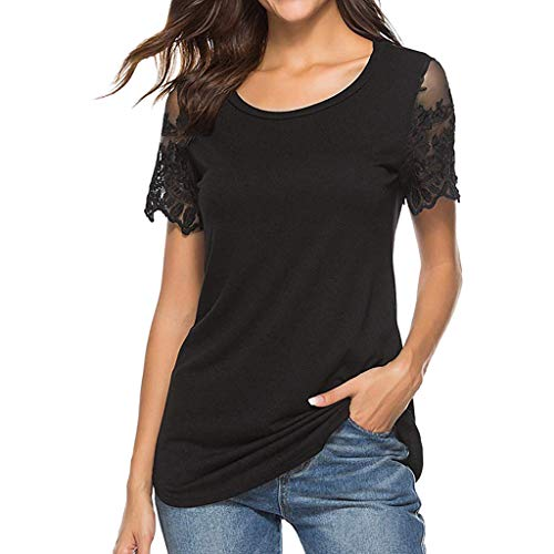 (Women's Tops Short Sleeve O Neck T-Shirt Casual Lace Stitching Hollow Solid T-Shirt top Black)