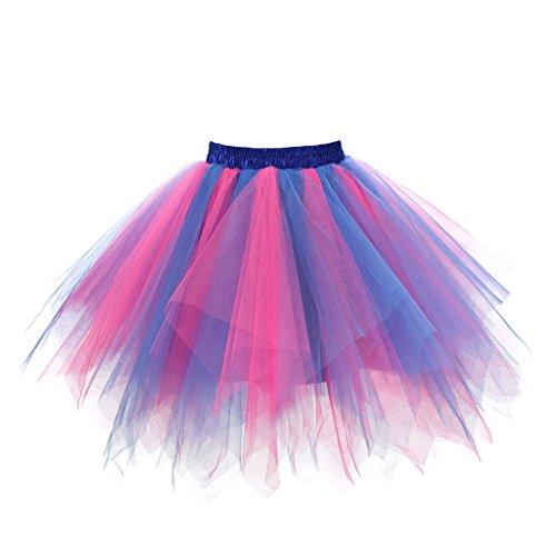 (Musever 1950s Vintage Ballet Bubble Skirt Tulle Petticoat Puffy Tutu Blue/Fuchsia Large/X-Large)