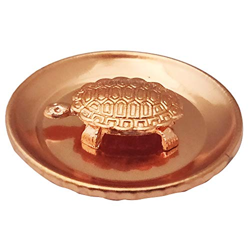 Divya Mantra Feng Shui Pure Copper 1.5 Inch Tortoise/Turtle with 2.25 Inch Diameter Water Plate; Vastu Living Positivity, Wealth, Money, Good Luck & Longevity; Home, Office Decor Gift Items/Products
