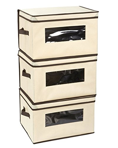 Juvale Set of 3 Foldable Storage Box Containers for Clothes, Documents, Household Items with Lid Basket Bin - Beige - Large (Large Foldable Box)