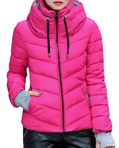 Stand Rose Collar Down Womens Zipper Energy Pocketed Thick Coat Red Mini Slim 5Hqvxw4
