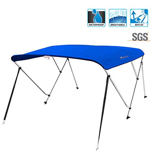 KING BIRD 3 Bow Bimini Boat Top Cover Sun Shade Boat Canopy Waterproof 1 Inch Stainless Aluminum Frame 46