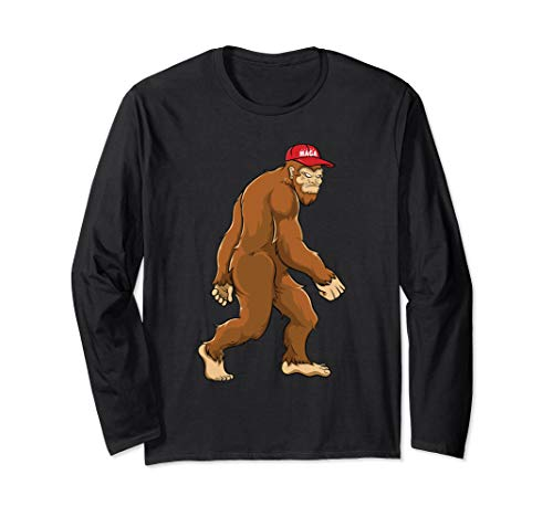 Bigfoot MAGA Hat Sasquatch Trump 2020 Kids Boys Long Sleeve T-Shirt